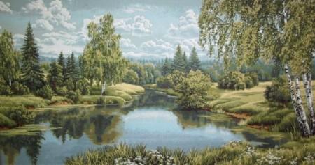 Пейзаж с березой - Гобелен