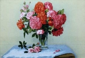 Розы на зеленом фоне - Гобелен