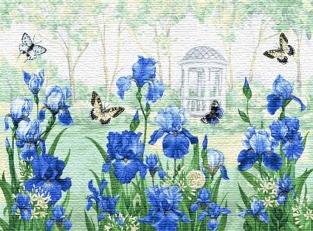 Бабочки в ирисах - Гобелен