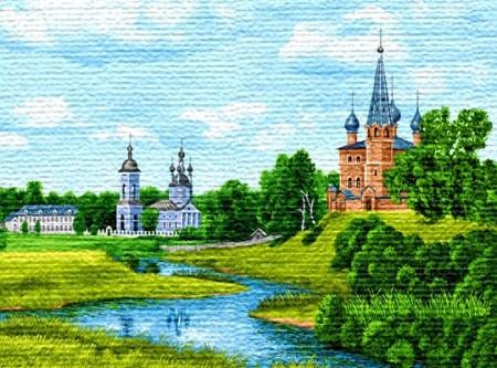 Белая и красная церковь - Гобелен