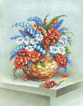 Букет в корзине (красные цветы) - Гобелен