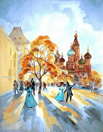 Бульвар осенний день - Гобелен