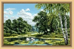 Пейзаж с лебедями - Гобелен