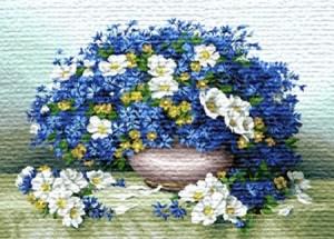 Роскошный голубой букет - Гобелен