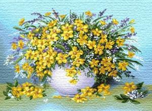 Роскошный желтый букет - Гобелен