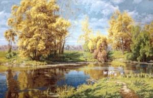 Сельский пруд осенью - Гобелен
