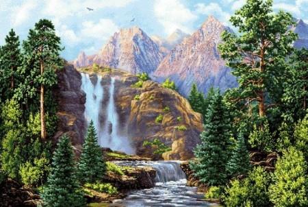 Водопад у гор - Гобелен