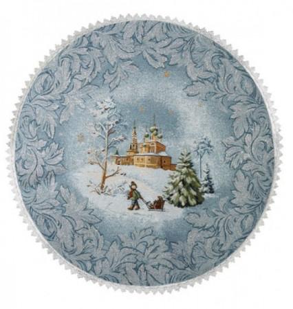 Храм в снегу - Гобеленовая салфетка