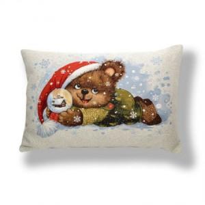 Наволочка Мишка Дед Мороз (люкс) - Гобелен