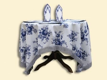 Подарочный набор Гжель-веночек (скатерть + 6 салфеток) - Гобеленовая салфетка