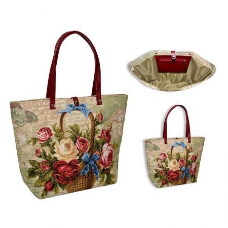 Сумка П.Шоппер купоны Корзина с розами бабочка - Гобелен