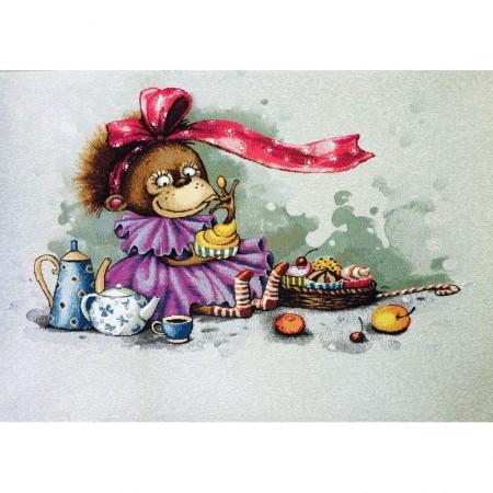 Наволочка Забавы. Обезьянка в фиолетовом (люкс) - Гобелен