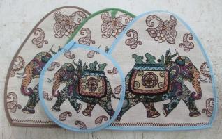 Комплект Индийский слон (Грелка на чайник+прихватка)