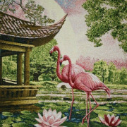 Панно Розовый фламинго (100*75)