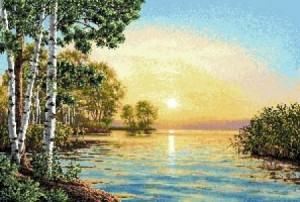 Зорька рассветная  - Гобеленовая картина * Багетная рама